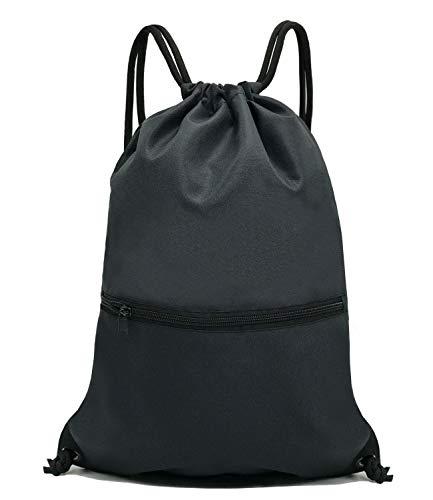 HOLYLUCK Men & Women Sport Gym Sack Drawstring Backpack Bag - Black