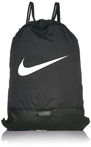 Nike Brasilia Training Gymsack, Drawstring Backpack with Zipper Pocket and Reinforced Bottom, Black/Black/White