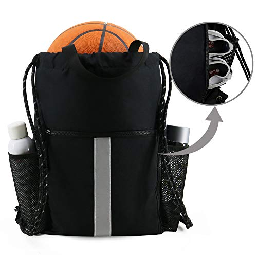 Gym-Drawstring-Backpack-Bag with Shoe Compartment and Two Water Bottle Holder for Men Women Large String Backpack Sports Bag Athletic Sackpack for School