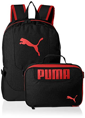 PUMA Big Kids Lunch Box Backpack Combo, black/Red, Youth Size