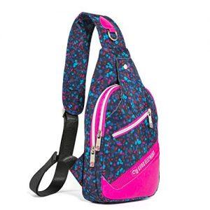 Sling Backpack Crossbody Shoulder Bag Warerproof Chest Daypack for Travel Hiking, Flower Color