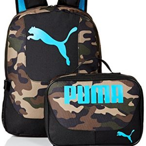 PUMA Boys Little Backpacks and Lunch Boxes, Camo/Blue Kit, Youth